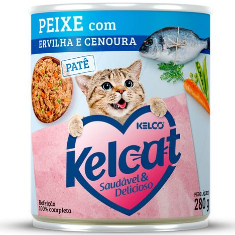 Kelcat Alimento Úmido Lata Peixe com Ervilha e Cenoura 280g