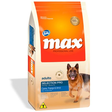 Ração Max Selection Cães Adultos Sabor Carne, Frango e Arroz 20 Kg