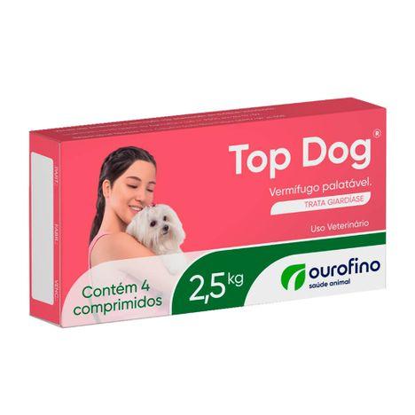 Vermífugo Top Dog com  4 Comprimidos Cães de 2,5 Kg