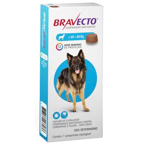 Bravecto Antipulgas e Carrapatos Para Cães de 20kg a 40kg