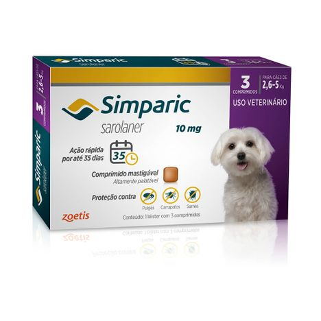 Antipulgas Simparic 10mg Cães 2,6 á 5 Kg com 3 Comprimidos