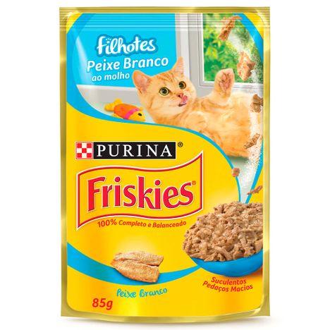 Sachê POurina Friskies para Gatos Filhotes Peixe Branco ao Molho 85g