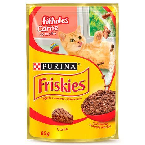 Ração Purina Úmida Friskies para Gatos Filhotes Carne ao Molho 85g