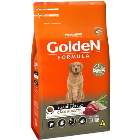 Ração Golden Fórmula Para Cães Adultos Sabor Carne e Arroz 3 Kg