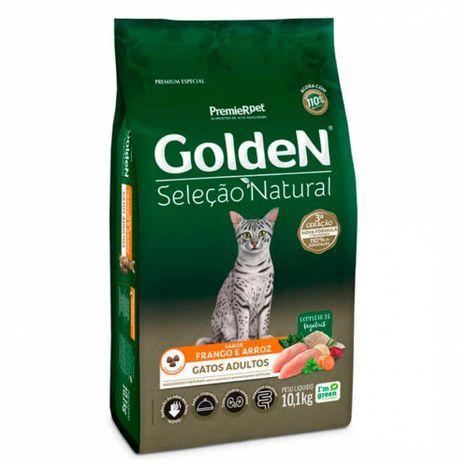 Ração Golden Seleção Natural Gatos Adultos Sabor Frango e Arroz 10,1 Kg
